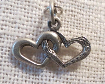 Linked Hearts Sterling Charm Pendant