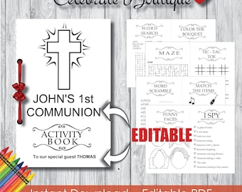Instant Download Communion Coloring Book for Kids Editable Activity Book Baptism Coloring Book Children Activity Book Party Favors for Kids