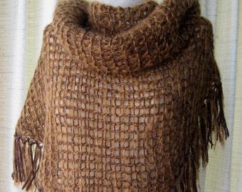 Hand Knit WARM Large Triangle Shawl in BROWN Caramel Mohair Wool  / Wool Shawl / Feminine Gift
