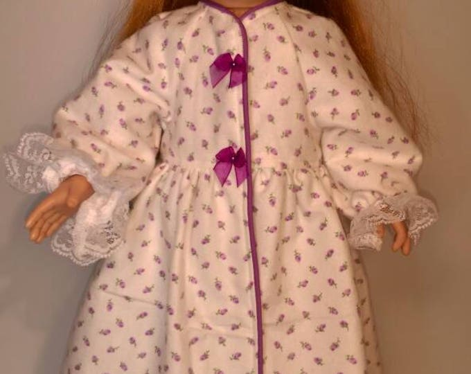 Purple rosebud print flannel bathrobe fits dolls 18 inch-dolls