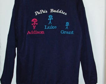 Papa's Buddies Sweatshirt, Personalize With Three Kids Names, Pappy, Pipa, Mim, Custom Grandparent Gift, Ships TODAY, Sizes S-5XL, AGFT 1256