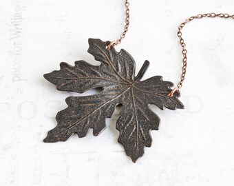 Black Leaf Pendant, Maple Leaf Necklace, Rusty Black Leaf Necklace on Antiqued Copper Plated Chain, Autumn Necklace, Fall Jewelry (40mm)