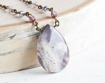 Purple Stone Necklace, Large Porcelain Jasper Teardrop Pendant on Antiqued Brass Chain, Light Purple Necklace, Gemstone Jewelry