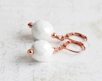 Snow White Large Bead Dangle Earrings on Bright Copper Plated Hooks