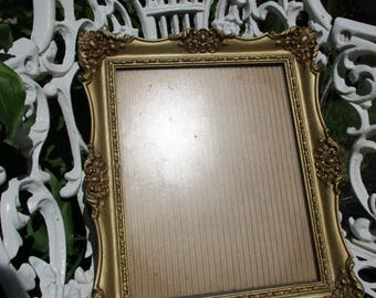 """Vtg Gold Gesso Syroco Style Ornate Baroque Designs Victorian Look Photo Picture Frame, 10.5"""" x 12.5"""""""