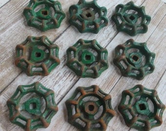 FAUCET HANDLES DISTRESSED - 9 Vintage Rusty Green for Mixed Media, Steampunk Industrial Decor, Altered Art Projects