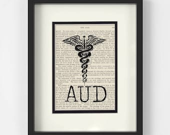 Audiology Gift - AUD over Vintage Medical Book Page - Audiology Graduation Gift, AUD Graduation Gift, AUD Gift, Audiology Art
