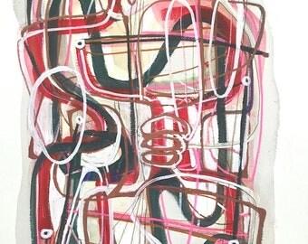 California Sunrise - Original Abstract Modern Mixed Media Painting on Archival Paper-12x16-Handmade- Wall Art