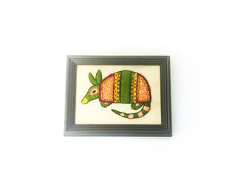 Vintage Colorful Armadillo Needlepoint Wall Hanging