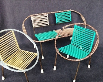Retro Fifties doll house patio furniture. Collectible toys for miniature garden.