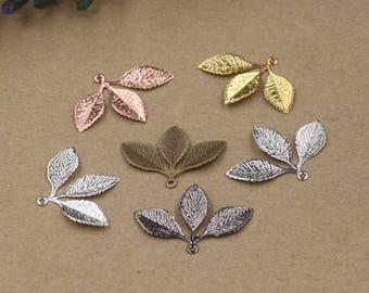 Wholesale 50 Brass Filigree Leaves 31x23mm Raw Brass/ Antique Bronze/ Silver/ Gold/ Rose Gold/ White Gold/ Gun-Metal- Z8005
