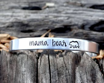 Mama Bear Cuff Bracelet. Hand Stamped Gift For Mom. Mama Bear Jewelry. Silver, Gold, or Rose Gold Adjustable Bracelet.
