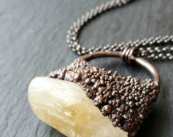 Raw Rough Copper Electroformed Natural Golden Yellow Brown Citrine Crystal Nugget Stone Suspended on Pendant Chain Necklace