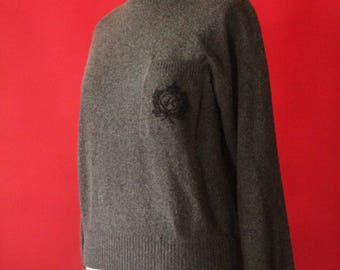 Vintage 90's Charcoal Grey Lambswool and Angora Dolman Sleeve Mock Turtleneck Pullover Sweater by Liz Claiborne, size Petite M