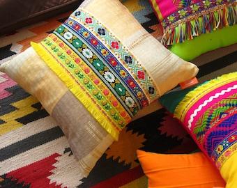 Mexican Pillow Boho Golden Yellow Trim Cushion - Bohemian Home Decor - Cyber Monday