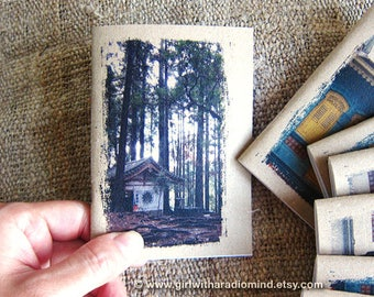 Forest Temple Notebook 26. Mini Pocket Size - Temple in the Forest, Kurama Kyoto, Japan - Small Diary