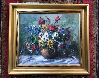 Floral Oil Painting Impressionistic Still Life Painting Colorful Flower Bouquet Signed Hungarian  Fine Art