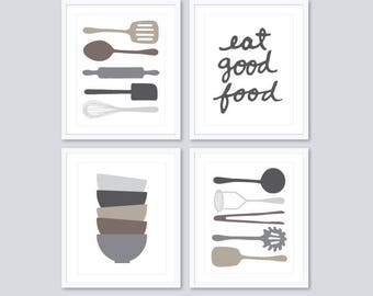 Kitchen Wall Art - Kitchen Prints - Cooking Utensils Prints - Eat Good Food Print - Stacked Soup Bowls Print - Choose Your Colors