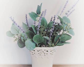 Silk Floral Arrangement - Lavender and Eucalyptus - Ivory Ceramic Vase