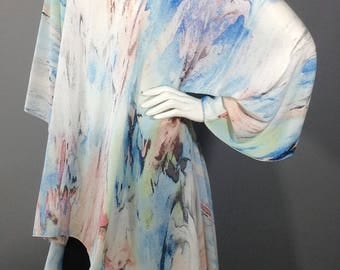 White, blue and peach rayon loose top