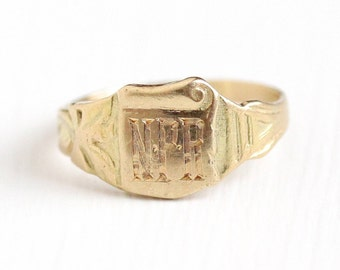 Antique 14k Rosy Yellow Gold Initials NPR Signet Ring - Art Nouveau Size 3 Vintage Edwardian Scroll Paper Baskin Bros BB Fine Jewelry