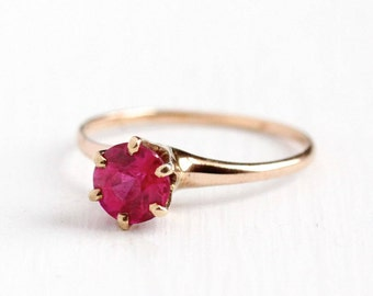 Sale - Vintage 10k Rose Gold Created Pink Solitaire Sapphire Ring - Size 6 1/2 Edwardian Bright Pink Alternative Engagement Fine Jewelry