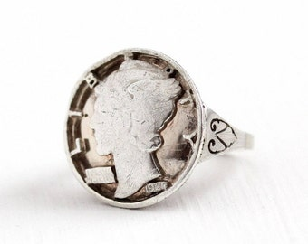 Sale - Vintage Silver Mercury Dime Coin Filigree Ring - 1927 Size 4 1/2 Winged Lady Liberty Silver Black Enamel Statement Currency Jewelry
