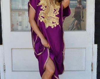 SUMMER 10% OFF // Royal Purple with Gold Marrakech Resort Caftan Kaftan -beach cover ups, resortwear,loungewear, maxi dresses, birthdays, ho