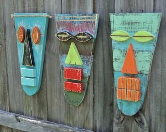 MIAMI, Tiki Man, Tribal Mask, Tiki Art, Tiki Bar Decor, Polynesian Tiki, Wood Mask, Tiki Mask, Wood Sculpture, Hawaiian Mask, African Mask