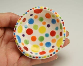 Polka Dots Ring Dish, Small  Pottery Bowl, Polka Dot Ceramics, Jewelry Dish, Trinket Holder, Tealight Candle, Condiment, Ceramic Nut Bowl