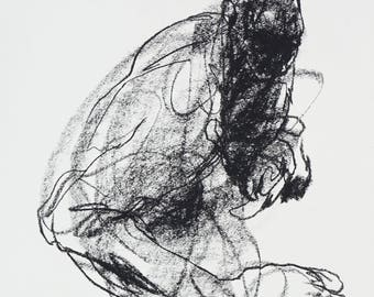 """Minimal and Abtract Figure Drawing - 11 x 14"""",  fine art - Figure 20 - charcoal on paper - original drawing"""