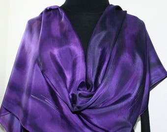 Silk Scarf Hand Painted Purple Lavender Silk Shawl PERFECTLY PURPLE-2, in 4 SIZES. Birthday Gift, Christmas Gift, Anniversary Gift
