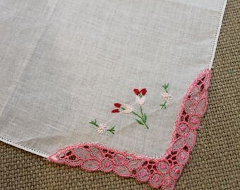White Vintage Handkerchief with pink and red embroider flowers