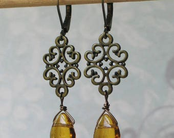 Filigree Amber Glass Earrings, 18th century jewelry, 19th century jewelry