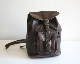 Small Rustic Brown Leather Backpack
