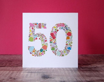 Girlie Things 50th Birthday Card - Fiftieth Birthday Card For Her - Special Birthday - 50th Birthday Card