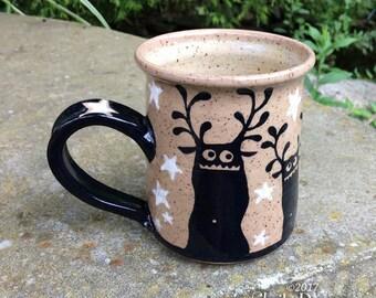 Antler Monster Mug - stoneware ceramic handmade coffee cup stars