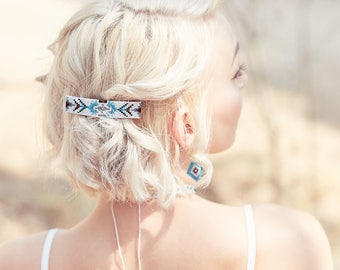 Beaded Tribal Barrette - Blue and White - Tribal Barrette - Hair Clip