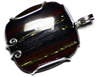 Tiger Iron Pendant in Sterling Silver Wire Wrap, Australian Tiger Iron Necklace, Yellow Red and Black Tiger Eye Cab, Great Chatoyance Gift