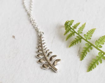 Silver Fern Leaf Necklace, Woodland Jewelry, Forest Necklace, Small Pendant Necklace, Nature Lover Gift, Gift For Her, Botanical Jewellery
