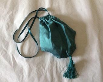 Regency Reticule,Bag. Jane Austen. SILK. Teal/Petrol. Victorian