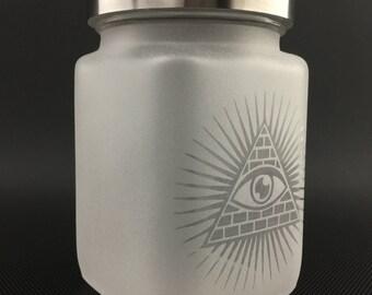 Etched Glass Jar //  All-Seeing-Eye // Airtight Metal Lid Jar