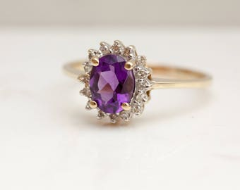 Vintage Diamond and Amethyst 10k Solid Yellow Gold Halo Ring, Size 9