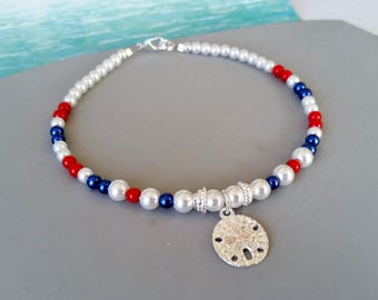Red white and blue patriotic sand dollar charm anklet, beach ankle bracelet