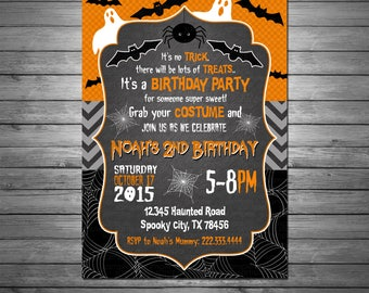 Halloween Birthday Invitation, Printable File, Ghosts and Goblins, Bats, Spiders, Black and Orange Invitation, Halloween Party Invitation