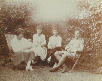 French Antique Photograph - Women Sat with a Soldier