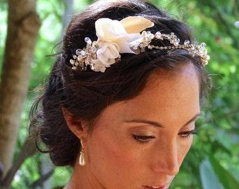Gold Bridal Headband, Flower & Crystal Headband, Gold Headband, Wedding Head Band,  MANDY