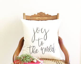 Joy to the World pillow cover, Christmas pillow, farmhouse Christmas pillow cover, Christmas gift, Christmas decor, farmhouse Christmas
