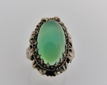 Antique Edwardian Sterling Silver Chrysoprase Ring. Heavy Elaborate Ornate Setting. Art Nouveau Deco Era Green Chalcedony Statement Ring.