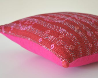 Red Vintage Sari Hand stitched Kantha Cushion Cover , Red Decorative Pillow Cover , Red Accent Pillow Cover , Vintage Kantha Cushion Cover